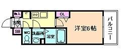 阪急神戸本線 中津駅 徒歩3分の賃貸マンション 4階1Kの間取り