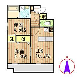 新潟県新潟市北区下早通の賃貸マンションの間取り