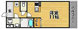 阪急京都本線 上新庄駅 徒歩2分の賃貸マンション 5階1Kの間取り