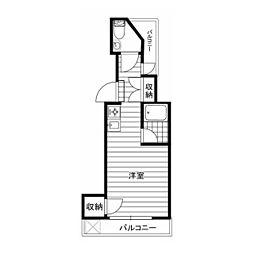 東急目黒線 不動前駅 徒歩6分の賃貸マンション 4階ワンルームの間取り