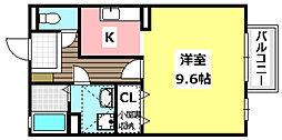 阪急京都本線 南茨木駅 3.8kmの賃貸アパート 2階ワンルームの間取り
