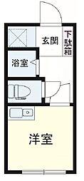 アヴァンセ成城 a棟 1階ワンルームの間取り