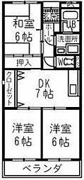 滋賀県米原市中多良2丁目の賃貸マンションの間取り