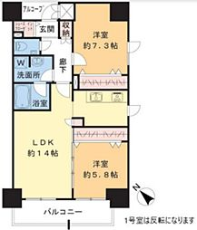 TEC Green Residence 11階2LDKの間取り