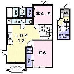 愛知県豊田市渋谷町1丁目の賃貸アパートの間取り