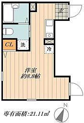 JR常磐線 北千住駅 徒歩10分の賃貸マンション 3階ワンルームの間取り