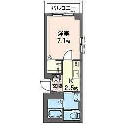 仮)K's ウィステリア 3階1Kの間取り
