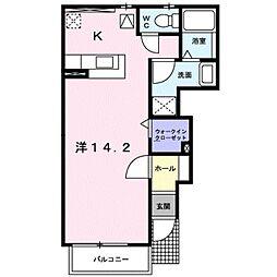 ソフィアコート 1階ワンルームの間取り