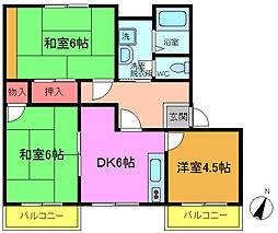 千葉県船橋市上山町1丁目の賃貸アパートの間取り