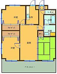 福岡県大野城市筒井5丁目の賃貸マンションの間取り