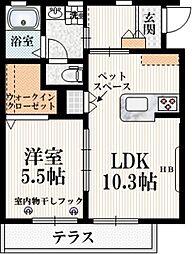 京王線 武蔵野台駅 徒歩14分の賃貸マンション 1階1LDKの間取り
