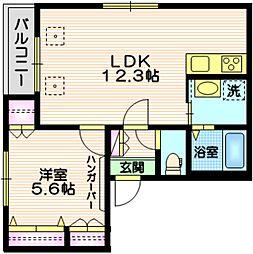 東急目黒線 大岡山駅 徒歩10分の賃貸マンション 2階1LDKの間取り