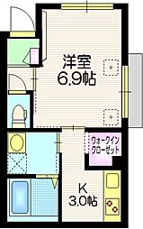 仮称 江北7丁目メゾン 1階1Kの間取り