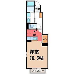 栃木県栃木市富士見町の賃貸アパートの間取り