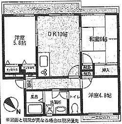 神奈川県横浜市青葉区若草台の賃貸マンションの間取り