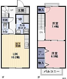 三重県松阪市外五曲町の賃貸アパートの間取り