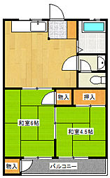 東京都稲城市東長沼の賃貸マンションの間取り