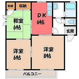 栃木県鹿沼市栄町1丁目の賃貸アパートの間取り