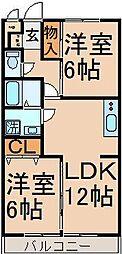 東京都東大和市南街4丁目の賃貸マンションの間取り