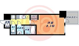 Osaka Metro谷町線 谷町九丁目駅 徒歩1分の賃貸マンション 10階1Kの間取り
