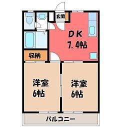 栃木県宇都宮市竹林町の賃貸マンションの間取り