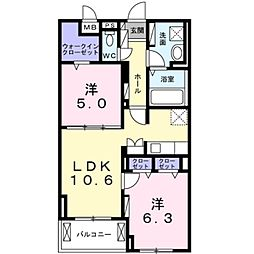 小田急小田原線 鶴川駅 徒歩22分の賃貸マンション 1階2LDKの間取り