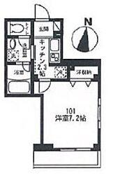 東急目黒線 西小山駅 徒歩8分の賃貸マンション 1階1Kの間取り