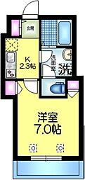 へーベルメゾン亀戸 2階1Kの間取り