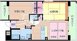大阪府池田市緑丘2丁目の賃貸マンションの間取り