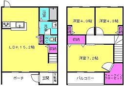 ガーデンコート高畑B棟[1号室]の間取り