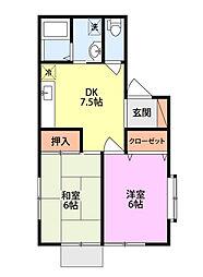 コーポマリII[1階]の間取り