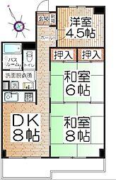 神奈川県横浜市青葉区柿の木台の賃貸マンションの間取り