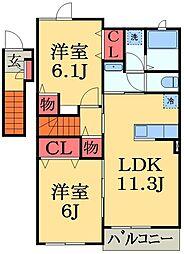 JR外房線 大網駅 バス10分 みどりが丘下車 徒歩2分の賃貸アパート 2階2LDKの間取り