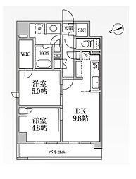 都営大江戸線 新御徒町駅 徒歩2分の賃貸マンション 10階2LDKの間取り