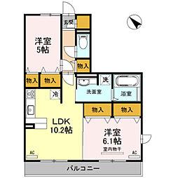 埼玉県さいたま市岩槻区美園東1丁目の賃貸アパートの間取り