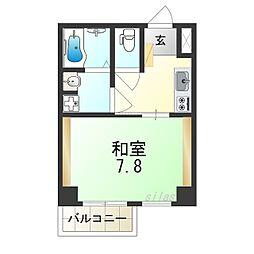 JR大阪環状線 今宮駅 徒歩8分の賃貸マンション 6階1Kの間取り