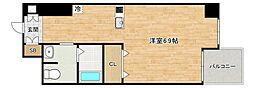 Osaka Metro谷町線 四天王寺前夕陽ヶ丘駅 徒歩6分の賃貸マンション 1階1Kの間取り