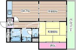 京阪本線 森小路駅 徒歩1分の賃貸マンション 4階2DKの間取り