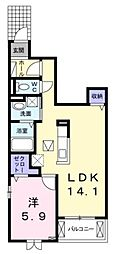 サンモール登戸 1階1LDKの間取り