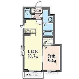 泉区新橋町シャーメゾン (仮) 1階1LDKの間取り
