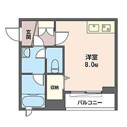 仮)中野区中野6丁目シャーメゾン 2階ワンルームの間取り