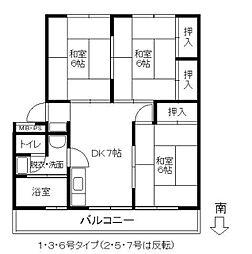 福岡県春日市須玖北2の賃貸マンションの間取り
