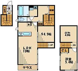 西武多摩川線 多磨駅 徒歩10分の賃貸アパート 2階1SLDKの間取り