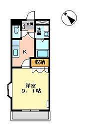 愛知県岡崎市福岡町字永池の賃貸アパートの間取り