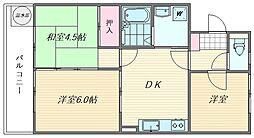 エメラルドマンション箱崎III[306号室]の間取り