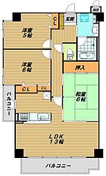 ライオンズマンション鷹取[3階]の間取り