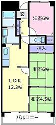 大阪府堺市東区日置荘西町7丁の賃貸マンションの間取り