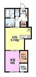 ロンドベル県央C棟 1階1LDKの間取り