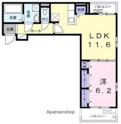 JR中央本線 勝川駅 徒歩17分の賃貸アパート 3階1LDKの間取り