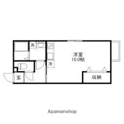 近江鉄道近江本線 水口駅 徒歩17分の賃貸アパート 2階ワンルームの間取り